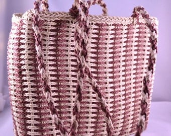 Boho Style Woven Cord Brown and Cream Summer Shoulder Bag or Purse Vintage Straw Style Handbag