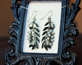 Botanical Statement Earrings brass and crystal leaves