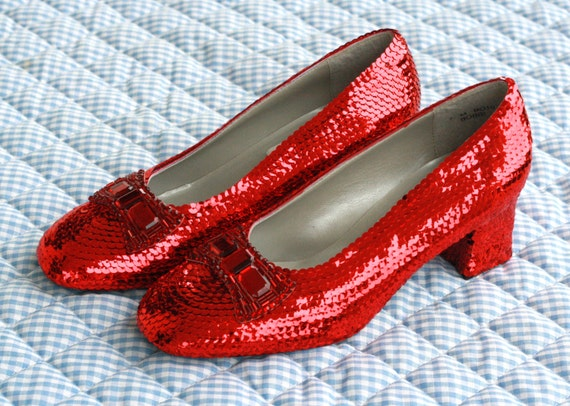 Classic Custom Replica Sequin and Rhinestone Dorothy Ruby Red Slippers PERFECT for Wizard of Oz Movie Weddings and Halloween Costumes