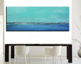 Blue Abstract Landscape Painting, Original Abstract, Abstract Ocean, Large Aqua Painting, Water painting, Blue Green Abstract, Blue painting