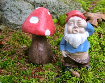Gnome And Toadstool Concrete Statues, Fairy Garden Decor, Painted Cement Figures, Garden Gnome, Fairy Garden Gnome, Small Gnomes, Yard Art