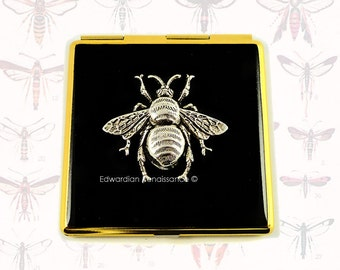 Square Compact Mirror Gothic Victorian Queen Bee Inlaid in Hand Painted Black Onyx Enamel with Custom Colors and Personalized Options