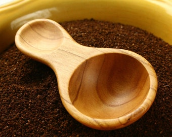 Wooden spoon 1 tablespoon measuring spoon and coffee scoop carved from salvaged Apricot wood