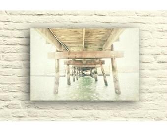 Nautical Home decor. Vintage photography. old wooden pier. dock. ocean. bay. Canvas wall decor. gray. gray blue. brown. fog. pastel