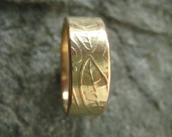 Gold Wedding Ring- with Stamped Leaves and Vines