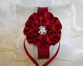 Ring Bearer Pillow / Apple Red Ring Bearer Pillow / Dark Red Flower and Trim / Rhinestone Mesh Trim / Wedding Pillow