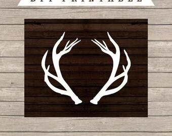 Deer Antlers Printable, Wood Art Print, Wood Reindeer, Deer Antler Art