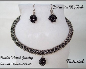 Tutorial Beaded Netted Rope Necklace & Earring Jewelry Set with Beaded Balls - Jewelry Beading Pattern, Beadweaving Instructions, PDF, DIY