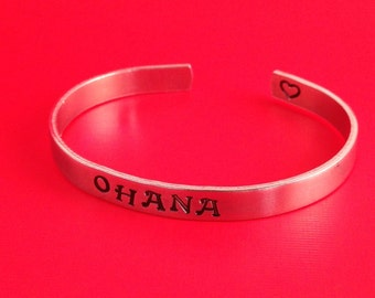 Ohana- Hand Stamped Cuff Bracelet- In Aluminum, Copper, Brass, or Sterling Silver