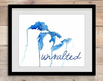 Great Lakes Unsalted, Great Lakes Art, Great Lakes Map, Great Lakes Painting, Michigan, Midwest, Michigan Home, Great Lakes Decor, Lake Art