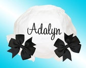 Bloomers with Ribbon Bows - Personalized Embroidered Diaper Cover - Black Script Monogram - Black Bows - Free Shipping