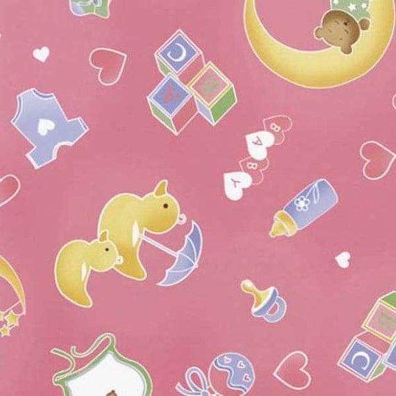 Pink nursery toss flannel fabric 1 yard from for Pink nursery fabric