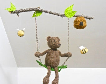 Baby Mobile, Baby Mobiles, Nursery Mobile, Woodland mobile, Bear Mobile, Bee Mobile, Brown Bear, Bee Nursery, Bear Hanging Mobile, Knit bear