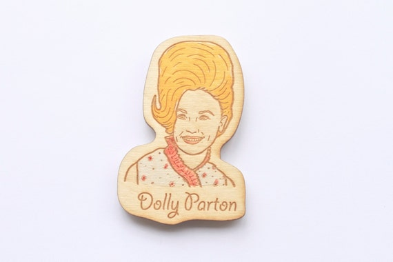 Wooden Dolly Parton Magnet.