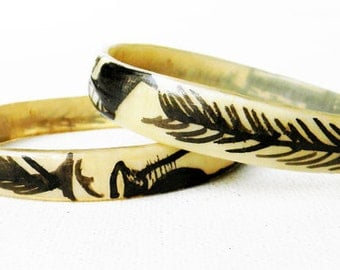 Antique Tribal Horn Bangle Bracelets Hand Painted Design PAIR of Two