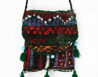 Vintage Woven Wool Folk Textile Bag 1960s