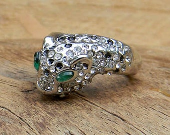 Vintage Panther Ring Emerald Green Eyes White and Black Gemstones