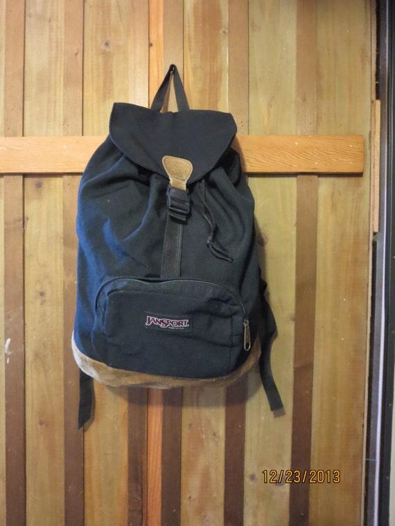 Suede leather bottom knapsack