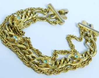 Vintage Chunky Triple Gold Chain Bracelet With Tiny Pearls And Aqua Blue Rhinestones