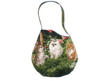 Cat Print Tote Bag Purse, Cat Lover's Bag, Cats in the Garden Option 3 OOAK