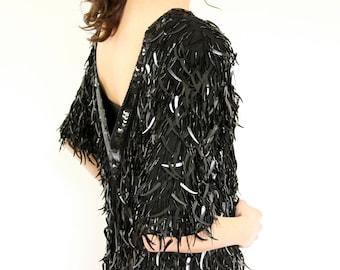 Fringed Sequin Dress, Black Silk 80s LBD Evening Shift, Avant Garde Mod cat tail paillettes beaded fringe short sleeve 1980s flapper frock