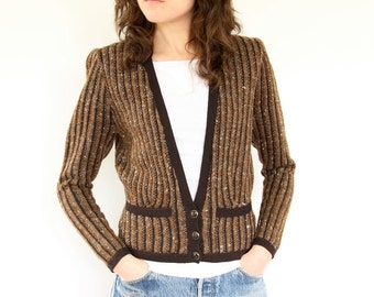 St John Knit Striped Sweater, 80s Brown Cardigan Saks 5th Ave tailored fitted shrunken petite office layer power dressing designer jacket