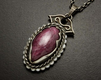 SALE: Oval natural ruby cab with pearls pendant