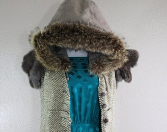 remade real fur trimmed jacket with hood