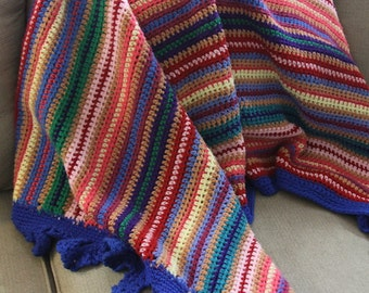 vintage crochet colorful woven blanket- wall hanging- decor