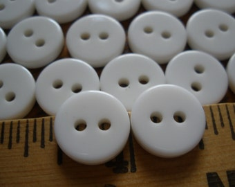 """Vintage 2-hole white Buttons 1/2"""" (20L 13MM) flatback 24 pieces sew on jewelry scrapbooking sewing crafts paper tag supply"""