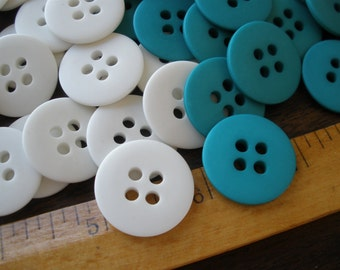 """Matte white or teal Buttons 36L 7/8"""" 22MM flat 36 pieces 4-hole sew on craft supply plastic choose color"""