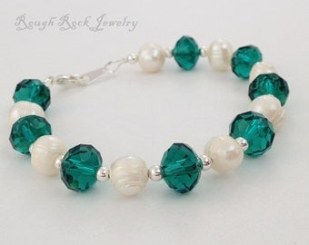 Freshwater Pearl and Teal Crystal Bracelet, Teal and Pearl Bracelet, Teal Bracelet