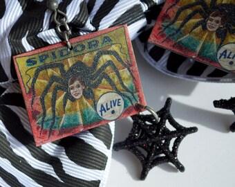 Spidora - Side Show Freak Poster Earrings