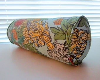 Ming Dragon Bolster in Dwell Studio Aquatint Fabric