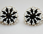 Vintage Beaded Screw Back Earrings Native American - Brass / Black And Milk Glass Seed Beads - estate sale find