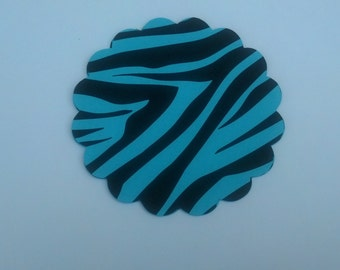 25 Animal Print Zebra Scalloped Circle Punches Die Cuts Embellishments 2  inch --