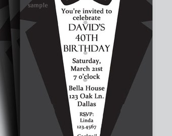Suit and Tie Tuxedo Invitation Printable or Printed with FREE SHIPPING - Customized - Birthday, Anniversary - Men's Formal Collection