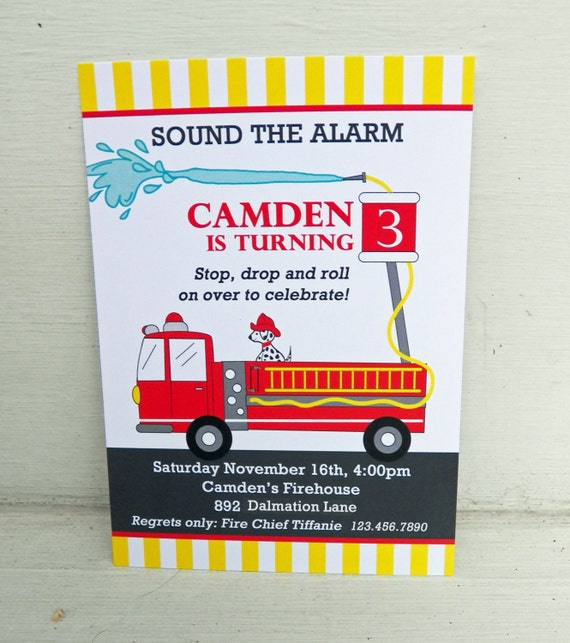 FireTruck Invitation Printable or Printed with FREE SHIPPING -Firefighter Birthday Party