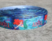 """Ariel mermaid grosgrain printed ribbon 1"""" thick sold in continuous yards for bows, scrapbooking, ribbon wreaths, pacifier clips"""