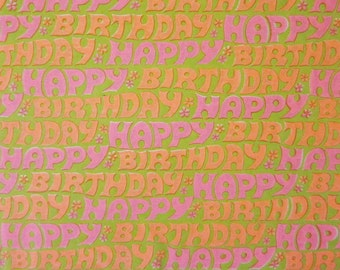 Vintage Wrapping Paper - Flower Power Happy Birthday Font - Full Sheet Carrington Gift Wrap