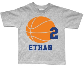 Basketball Sportsball Personalized Birthday Shirt - any age and name - pick your colors!