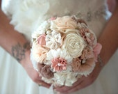 wedding bouquet set fabric flowers bridal bouquet bridesmaids bouquets  blush latte ivory bouquet