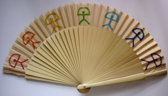 INDALO Man SYMBOL Rainbow Painted Hand Fan Wooden Fabric Handheld Flamenco Fan From Spain by Kate Dengra