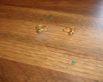 vintage clip on earrings tiny goldtone balls
