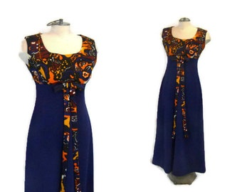 1960s Maxi Dress Navy Dress Psychedelic Print Orange Black Brown and White Print Mod Dress Sleeveless Dress Vintage 60s Mod Dress