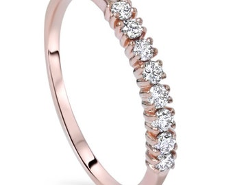 Rose Gold Diamond Wedding Ring, Stackable Wedding Band, Rose Gold Diamond Ring 1/4CT VS Diamond Wedding Ring 14 KT Rose Gold Size 4-9 Round