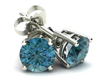 1/2CT Round Brilliant Cut Blue Diamond Stud Earrings In 14K Gold