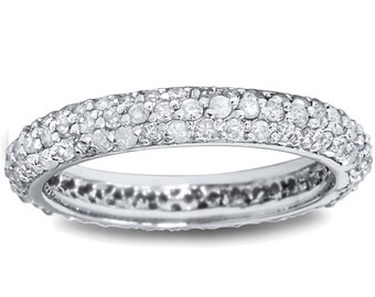 1.10CT Pave Diamond Eternity Ring 14K White Gold