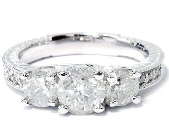 Diamond 2.50CT Vintage Three Stone Ring 14K White Gold