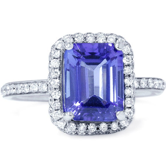 2.77CT VVS Emerald Tanzanite Diamond Ring 18K White Gold Micopave Halo Engagement Anniversary